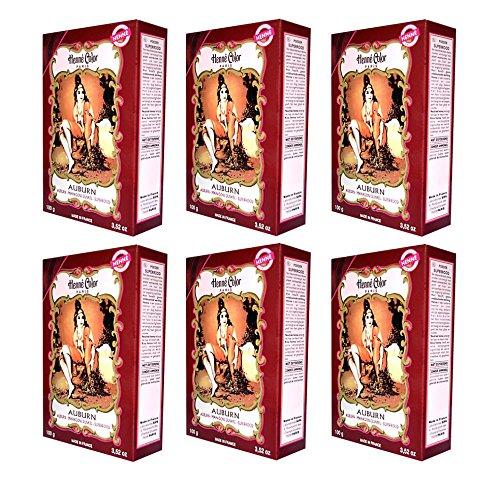 6 X 100g Henna Color Naturhaarfärbemittel Pulver Farbe Öko Mahagoni dunkel (auburn) -6Stück