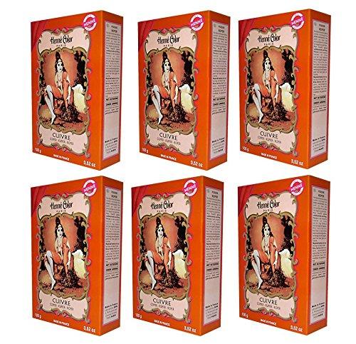 6 X 100g Henna Color Naturhaarfärbemittel Pulver Farbe Öko Kupfer -6Stück