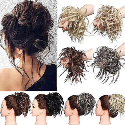 Hair Extensions XXL Haarteil Haargummi Hochsteckfrisuren Brautfrisuren VOLUMINÖS gewellter unordentlicher Dutt Scrunchie Sandige Blondine bis Bleichmittel Blond