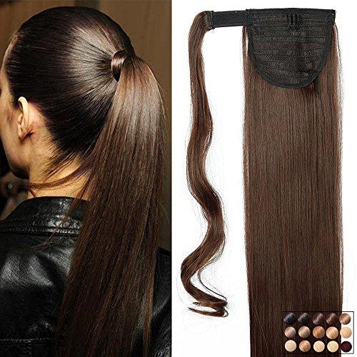 Pferdeschwanz Extensions Ponytail Haarteil Clip in Extensions wie Echthaar Zopf Glatt Kunsthaare günstig Haarverlängerung 23'(58cm)-120g Mittelbraun