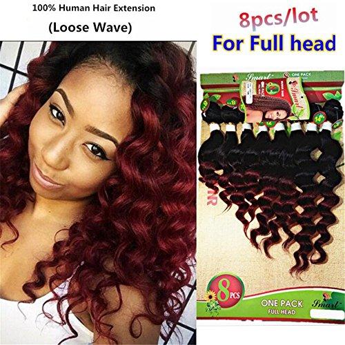 8 10 12 14 Zoll Loose Wave Haare Extensions 8 Bündel Brasilianische Menschliche Haare Ombre Burgundy Haarverlangerung Human Hair Bundles (8 10 12 14 zoll, 1B BUG(loose wave))
