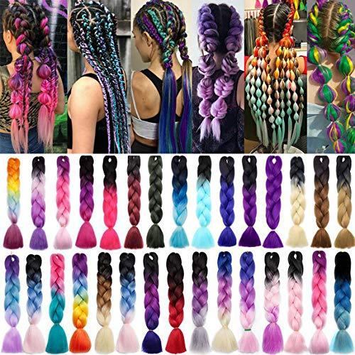 Ombre Braiding Hair Extensions Flechthaar Jumbo Zöpfe Haar Synthetische Haarverlängerung Braids Haarteil 24 inch (60 cm) 300g / 3Pcs Lila bis Pfirsichrosa bis Rosa