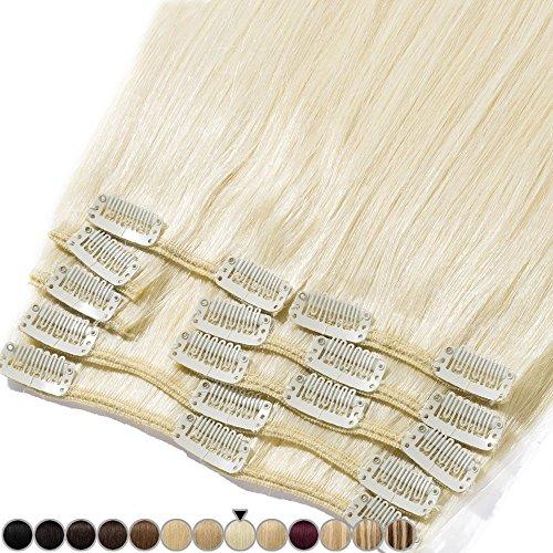 Clip In Extensions Echthaar Remy Haarverlängerung 100% Echthaar für komplette Glatt 33cm-80g (#60 Platinum Blonde)